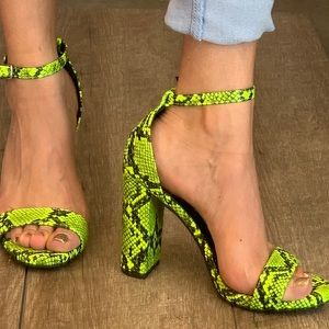 "Delicious Neon Yellow Python 4"" Strappy Heels"